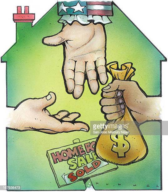 17p x 19p Jim Hummel color illustration of hands one belonging to Uncle Sam reaching for a bag of money within outline of a recently sold house