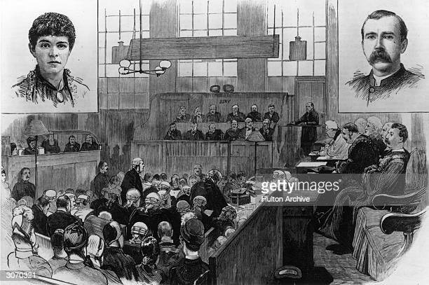 Mr Edward Clarke QC crossexamines Mr Bartlett in the course of the Pimlico Poisoning Case Insets show Mrs Bartlett and the Reverend G Dyson a witness...