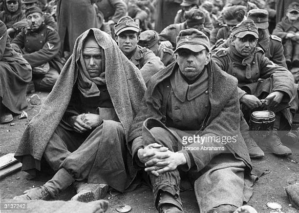 German prisoners of war at a fomer Nazi Military Academy in the 7th Army area.