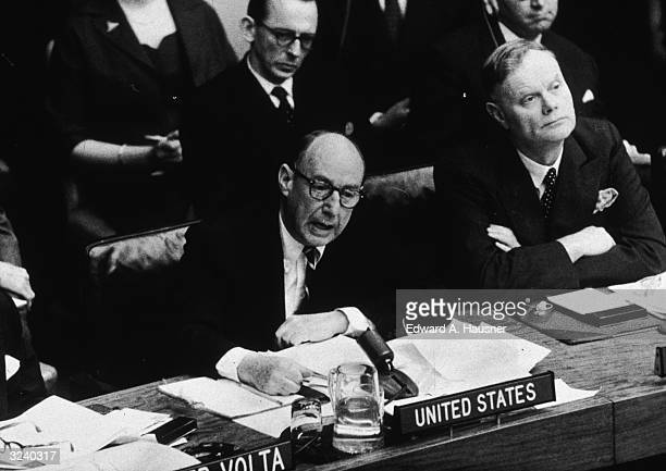 Adlai Stevenson US representative to the United Nations denying charges from Cuba that the United States was a party to the Bay of Pigs invasion...