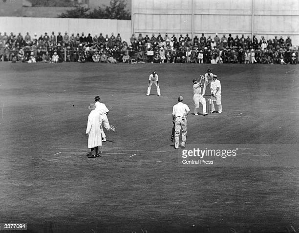 English cricketer Sir Jack Hobbs equals W G Grace's record during a cricket match between Surrey and Somerset at Taunton.