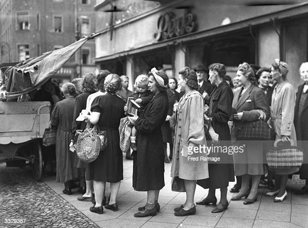 German housewives queuing for food in immediate post-war Berlin.