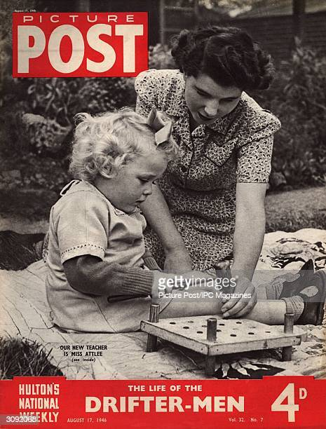 Felicity Attlee daughter of British prime minister Clement Attlee plays an educational game with a small child She is a livein student at the Rachel...
