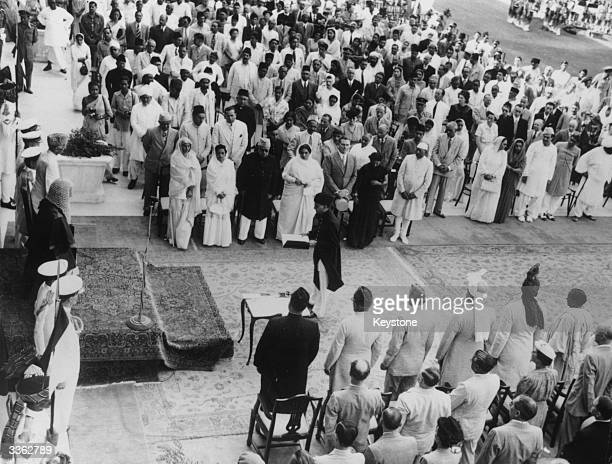 Muhammad Ali Jinnah is sworn in as GovernorGeneral of the new MuslimDominion of Pakistan at Government House in Karachi