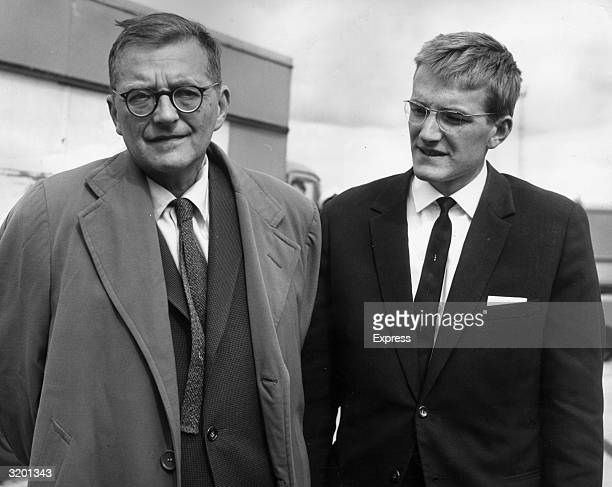 Russian classical composer Dmitri Shostakovich and his son Maxim arrive at London Airport on their way to the Edinburgh music festival England...