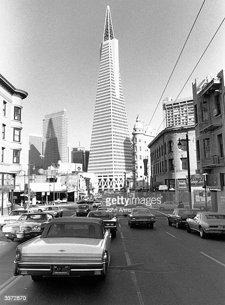 The 48 floor 853 foot high Transamerica Building a pyramidal structure built in 1972 in the downtown area of San Francisco
