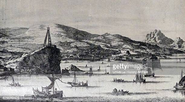 17th century European drawing of Kagoshima Japan where Francis Xavier the Jesuit landed in 1519