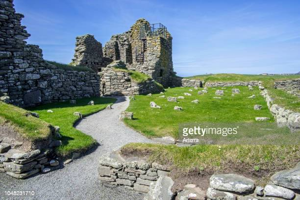 17th century laird's house at Jarlshof archaeological site prehistoric and Norse settlements at Sumburgh Head Shetland Islands Scotland UK