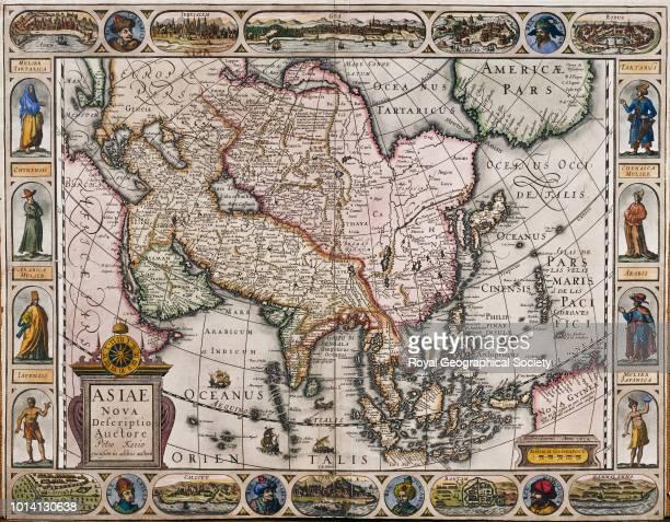 17th century map of Asia 'Asiae Nova Descriptio Auctore Petro Kaerio excusum in aedibus auctoris' published by Petrus Kaerius Amsterdam 1614 Scale...