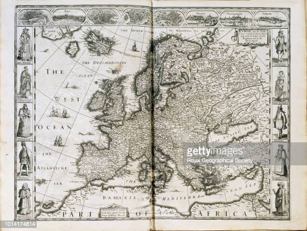 17th century map of Europe This map is entitled 'Europe and the chiefe cities now contayned therin described with the habits most Kingdoms now use'...