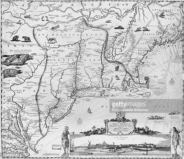 17Th Century Map Of New England Detail Of A 17ThCentury Map Of New England With The Plymouth Colony Appearing Opposite The Tip Of Cape Cod