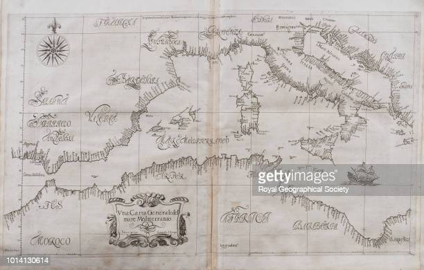 17th century map of the Mediterranean 'Una Carra Generaledel mare Mediterranio' from Vol 2 of 'Dell'Arcano del mare di D Ruberto Dudleo Duca di...