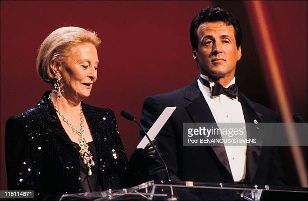 17th 'Cesar' awards night in Paris France on February 22 1992 Michele Morgan president of the ceremony and Sylvester Stallone