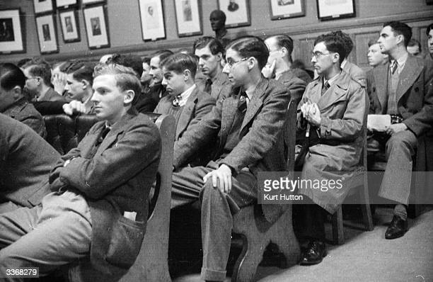 Undergraduate members of the Oxford Union Society listen to one of the famous Oxford Union debates Original Publication Picture Post 35 The Oxford...