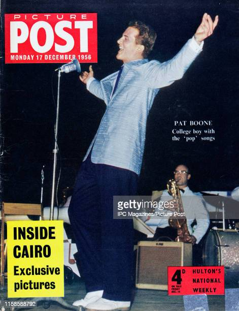 American singer Pat Boone featured on the cover of Picture Post magazine with the headline 'College boy with the 'pop' songs.' Original Publication:...