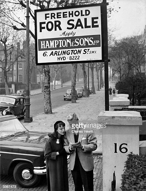 Film actor Tony Wright and his fiancee actress Janet Monro go flathunting together Original Publication Picture Post 8739 Mr Wright's Miss Right pub...