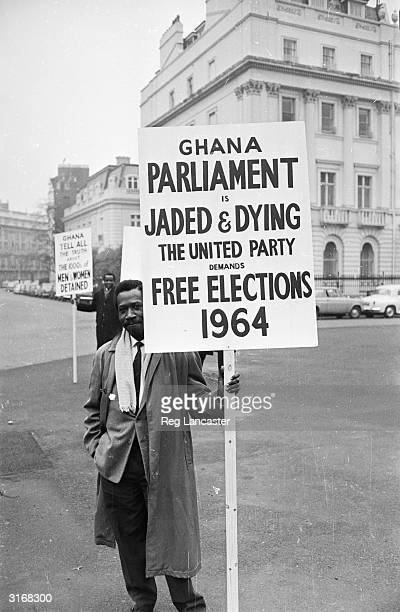 Protesters against the government of Kwame Nkrumah outside the offices of the Ghana High Commission in London.