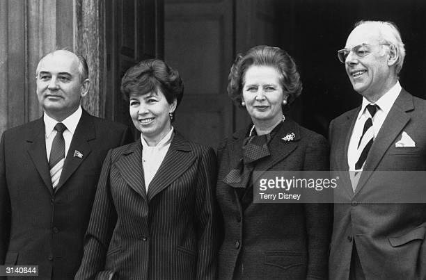 L tor r Russian leader Mikhail Gorbachev his wife Raisa British Prime Minister Margaret Thatcher and her husband Denis
