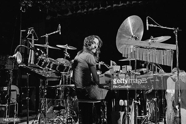 Drummer Neil Peart from Canadian progressive rock band Rush posed at his drum kit in the Public Auditorium in Cleveland Ohio on 17th December 1977