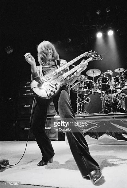 Guitarist Alex Lifeson from Canadian progressive rock band Rush performs live on stage at the Public Auditorium in Cleveland Ohio on 17th December...