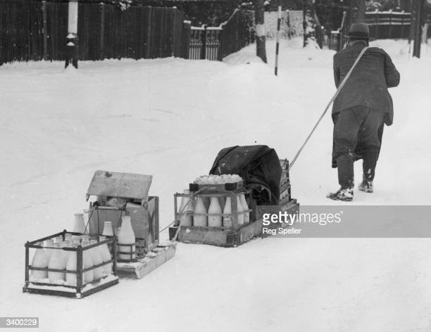 A milkman delivering the milk by sleigh because of treacherous snow conditions at Sutton
