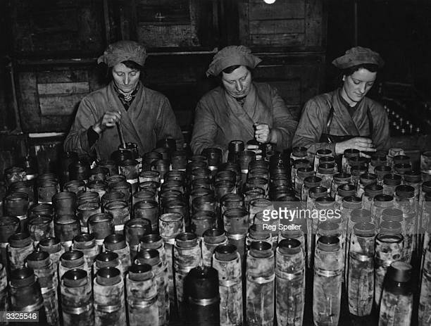 Munition girls at work at a Ministry of Supply factory