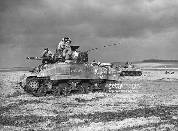 Extensive manoeuvres for invasion being carried out by American Sherman tank units in Britain