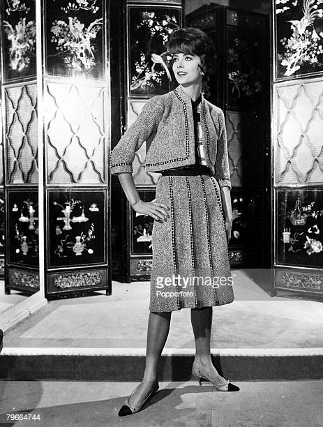 17th February 1961 Paris France A model shows a black and white Tweed suit as part of Chanels Spring collection