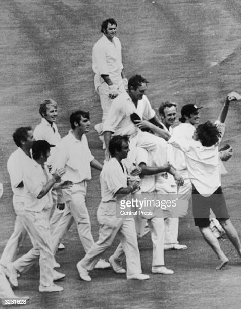 CHECK HIRES IF SUPPLYING DIGITALLY A victorious England team carry their captain Ray Illingworth off the field after clinching the Ashes by a 62 run...