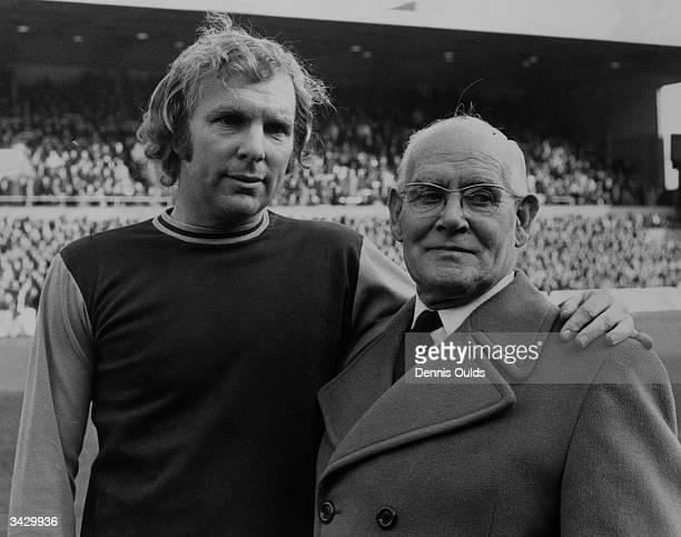 West Ham and England footballer Bobby Moore at Upton Park before making his record breaking 510th league appearance for West Ham he is with the...
