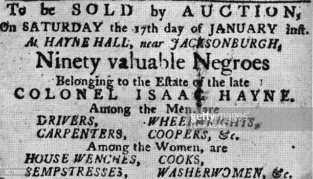 A poster for a slave auction at Jacksonburgh