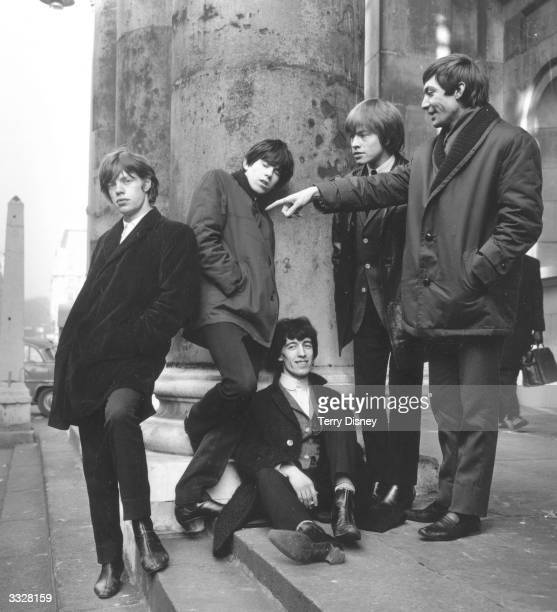 Members of the pop group The Rolling Stones on the steps of St George's Hanover Square from left to right Mick Jagger Keith Richards Bill Wyman Brian...