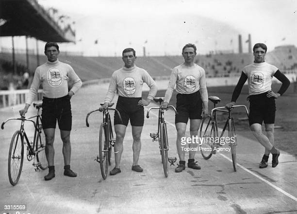 The British Cycling Pursuit Team who won the Gold Medal at the 1908 London Olympics over a distance of 18105 metres Leonard Meredith Ernest Payne...