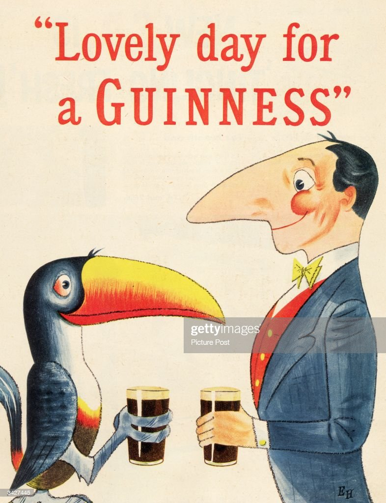 A toucan and a long-nosed gentleman meet for a pint, both agreeing that it is a 'Lovely day for a Guinness'. Original Publication: Picture Post Ad - Vol 64 No 3 P 9 - pub. 1954