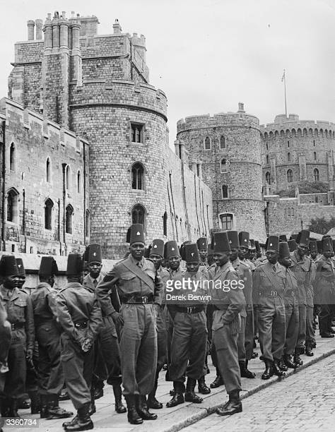 Soldiers of a contingent of the King's African Rifles during a visit to Windsor Castle Berkshire
