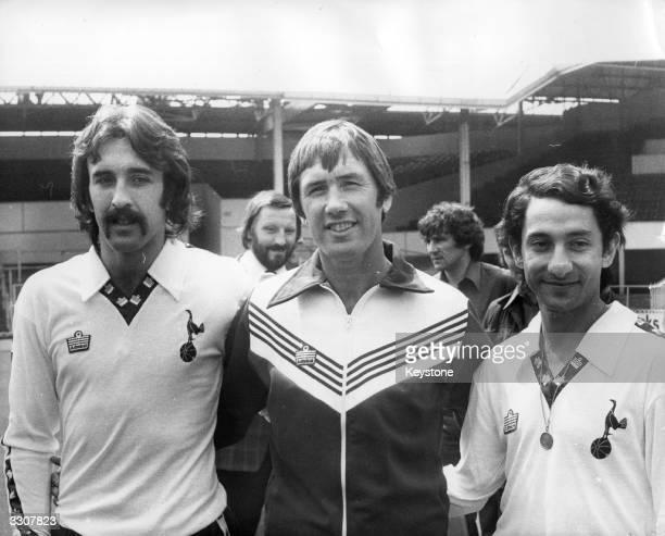 Tottenham Hotspur manager Keith Burkinshaw with his two new Argentinian players Ricardo Villa and Osvaldo Ardiles at White Hart Lane after joining...