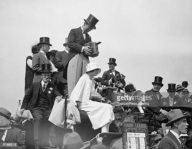 Comic actor Leslie Henson filming on the first day of Ascot