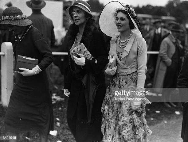 Three society women at Ascot on Ladies Day.