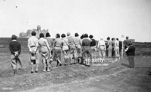 Line of spectators watching the 5th round of the Britannia and Eve Scottish Golf Foursomes at Cruden Bay, Aberdeenshire. Cruden Bay links was...