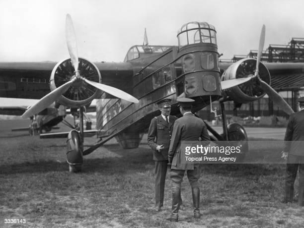 Air Vice Marshal Jobert de la Ferte of the RAF greets General Massenet de la Ferte of the French Air Force on his arrival with four Marcel Bloch...