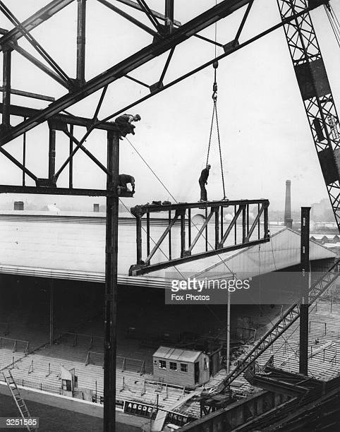 The construction of the Highbury stadium London the home of Arsenal Football Club