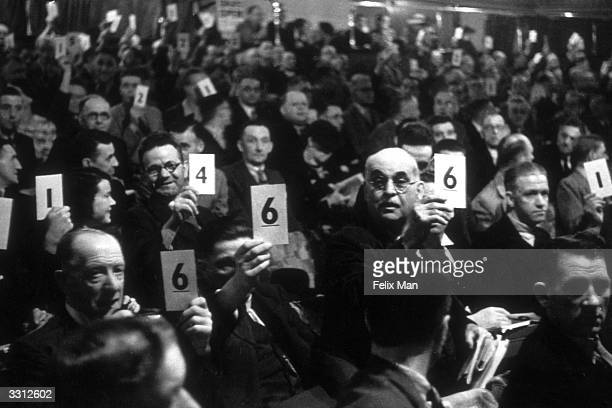 A dramatic moment at the Southport Labour Party conference as the cardvote is taken to decide whether or not to expel Sir Stafford Cripps Original...