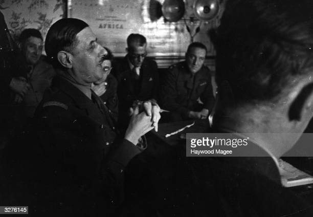 French politician General Charles de Gaulle marshals support for the French in Algeria during World War II Original Publication Picture Post 1718...