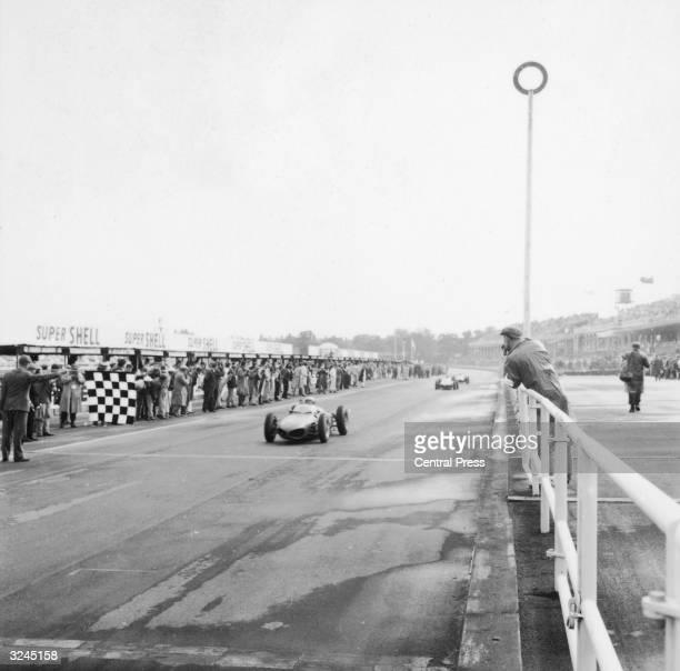German racing driver Wolfgang von Trips driving for Ferrari winning the British Grand Prix at Aintree Liverpool