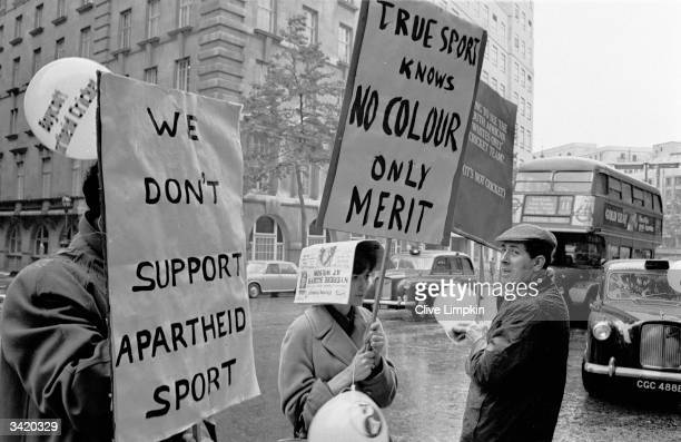 Anti-Apartheid demonstrators outside the Waldorf Hotel in London where South African cricketers are staying.