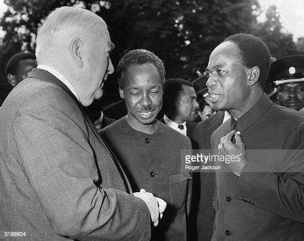 Ghanaian Prime Minister Kwame Nkrumah talking to the Australian Prime Minister Sir Robert Menzies and President Julius Nyerere of Tanzania at...