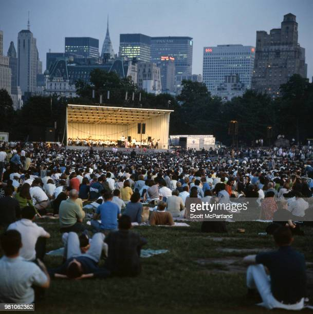 New York City View of audience members in Central Park's Sheep Meadow for a Barbara Streisand concert