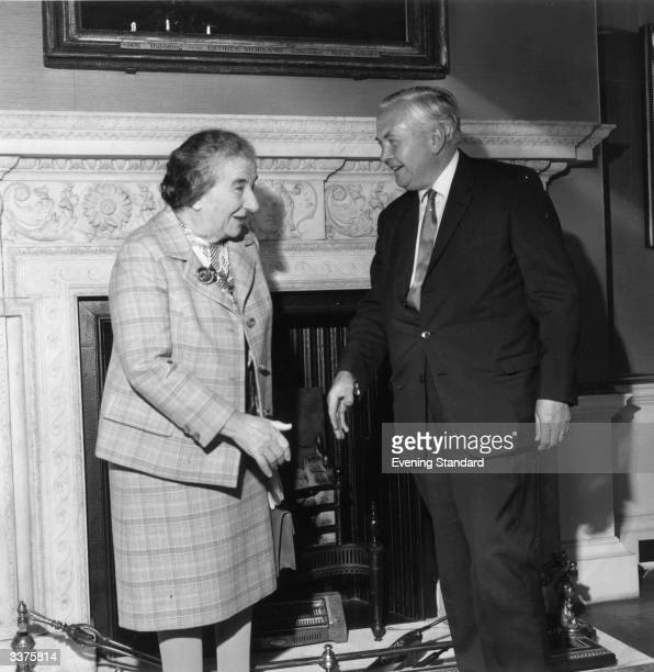 Golda Meir Israeli premier from 1969 to 1974 and founder of the state of Israel She is with Harold Wilson the British prime minister