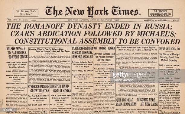 The front page of 'The New York Times' announcing the end of the Romanoff Dynasty in Russia and the creation of a provisional government during the...