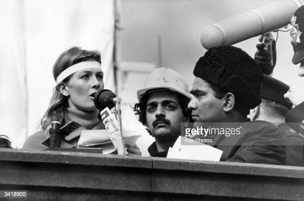 English actress Vanessa Redgrave speaking at a demonstration outside the American Embassy London at an antiVietnam war rally She is wearing a white...